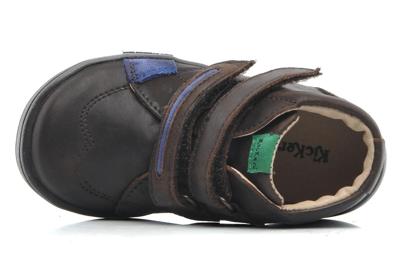 Zapatos con velcro Kickers Taxi Marrón vista lateral izquierda