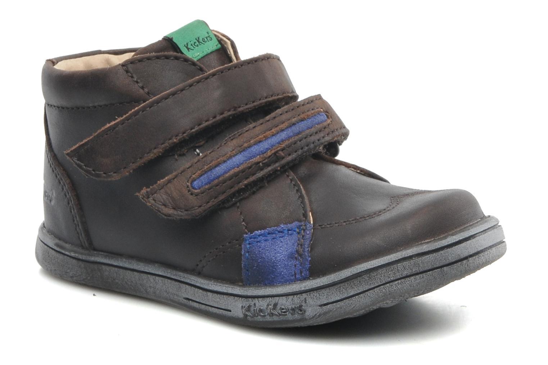 Sko med velcro Kickers Taxi Brun detaljeret billede af skoene