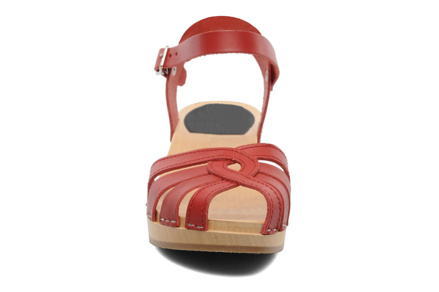 Sandals Swedish Hasbeens Cross Strap Debutant Red model view