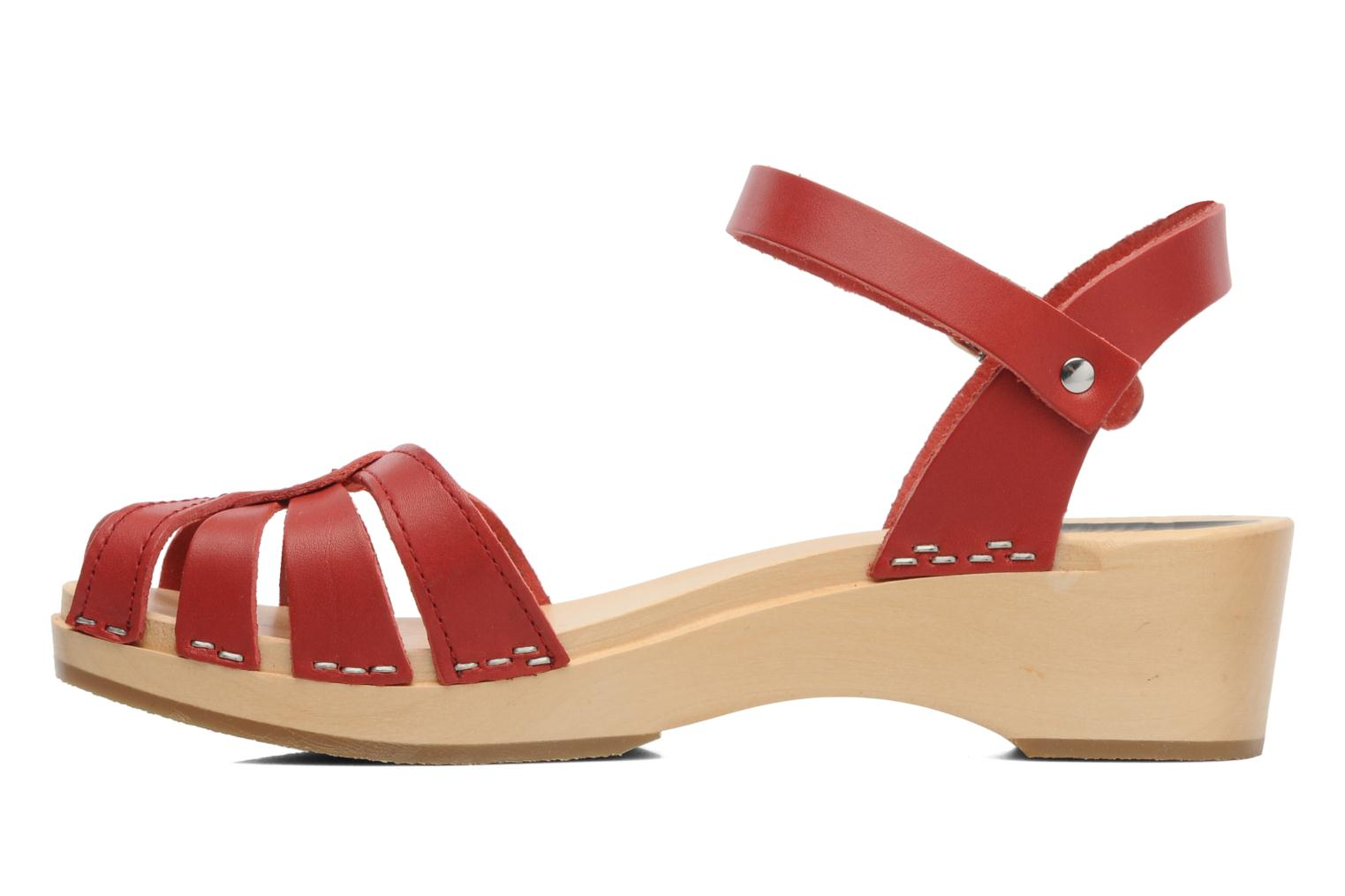 Sandals Swedish Hasbeens Cross Strap Debutant Red front view