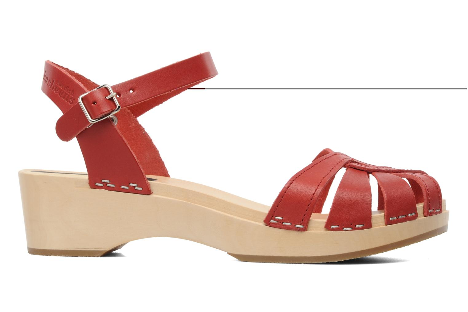 Sandals Swedish Hasbeens Cross Strap Debutant Red back view