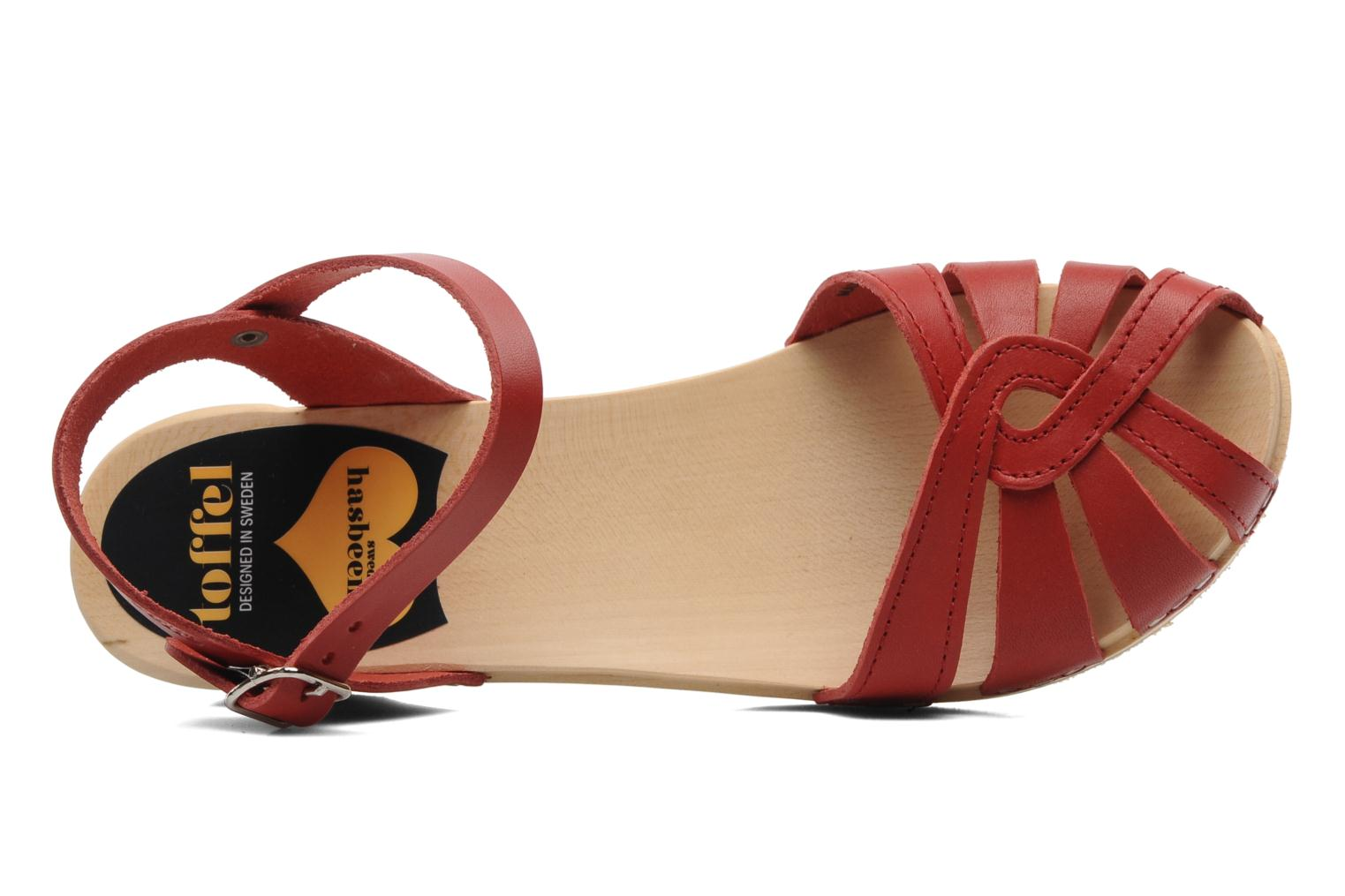 Sandals Swedish Hasbeens Cross Strap Debutant Red view from the left