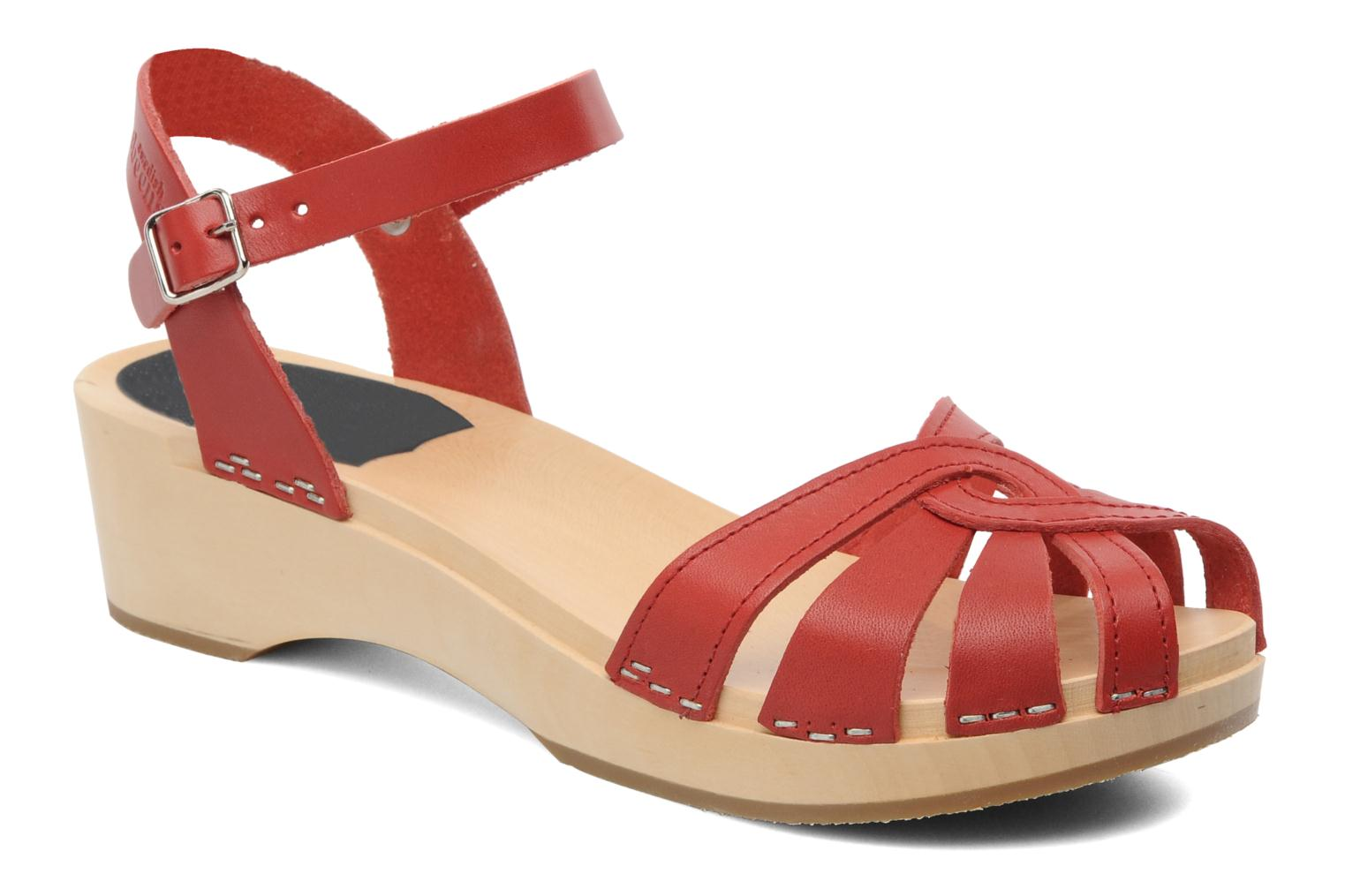 Sandals Swedish Hasbeens Cross Strap Debutant Red detailed view/ Pair view
