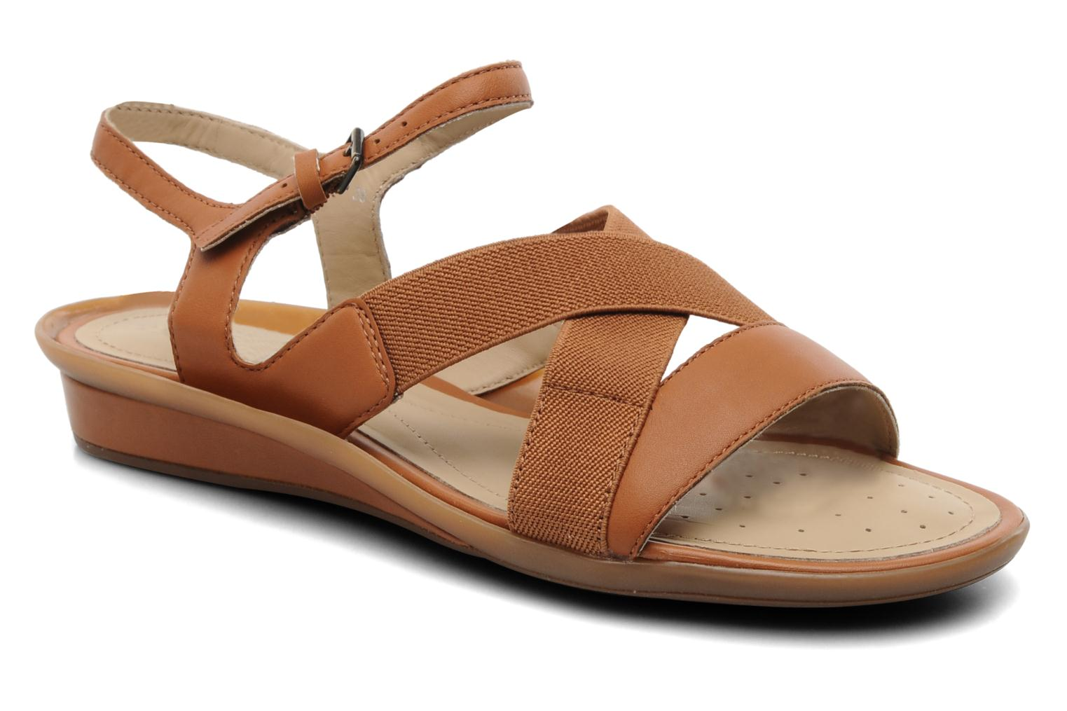 Sandals Geox D Emelyne B Brown detailed view/ Pair view