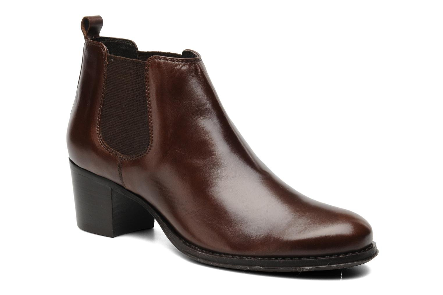 Ankle boots Georgia Rose Tabou Brown detailed view/ Pair view