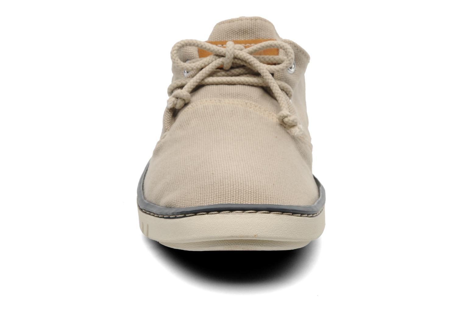 Sneakers Timberland Earthkeepers Hookset Handcrafted Canvas Ox Beige modello indossato