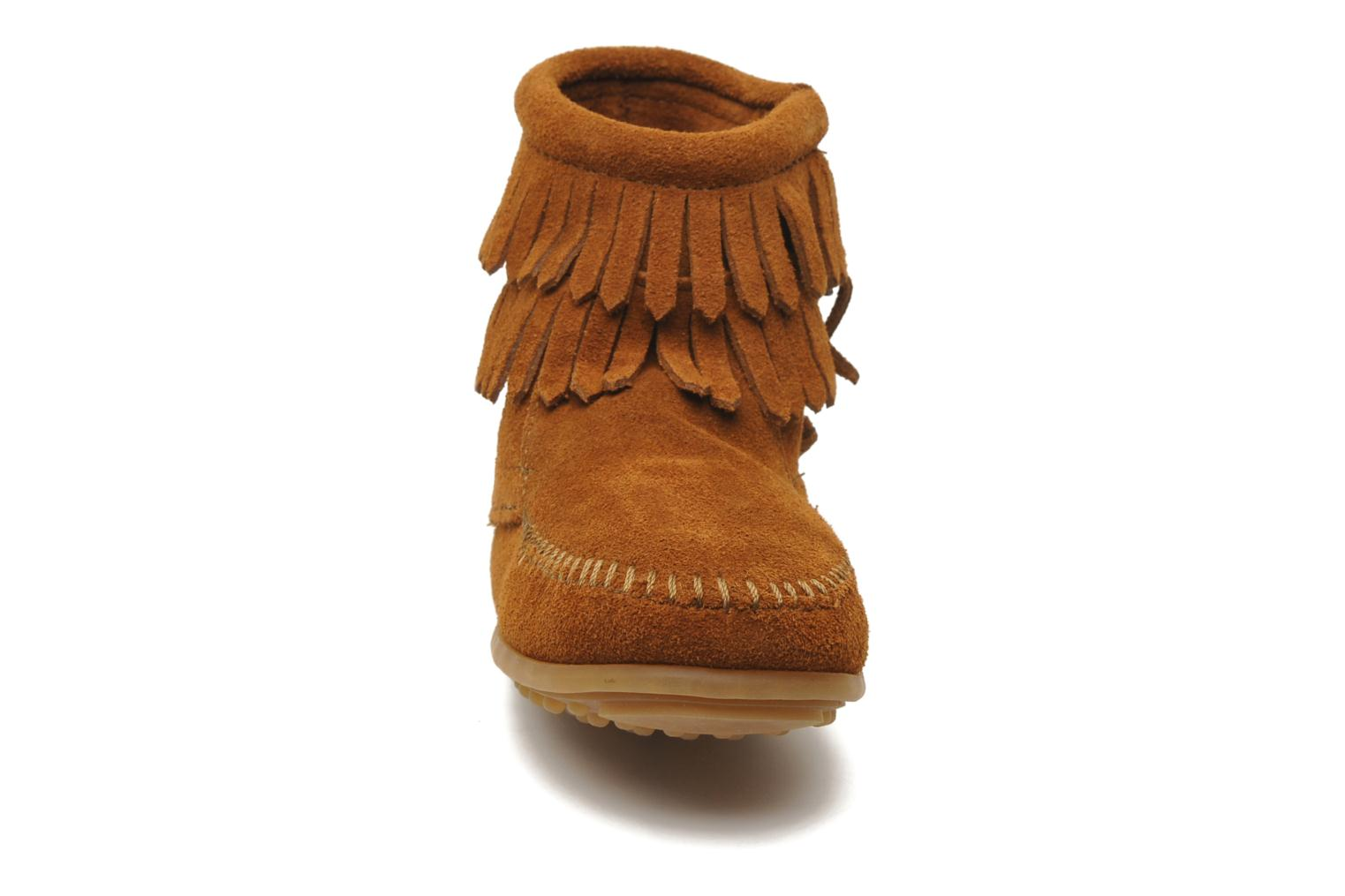 Ankle boots Minnetonka Double Fringe bootie G Brown model view