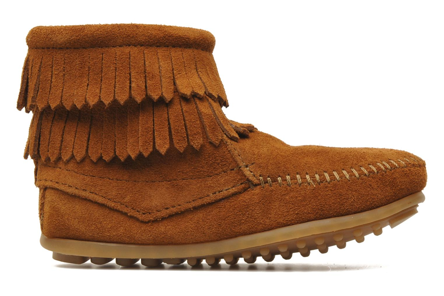 Ankle boots Minnetonka Double Fringe bootie G Brown back view
