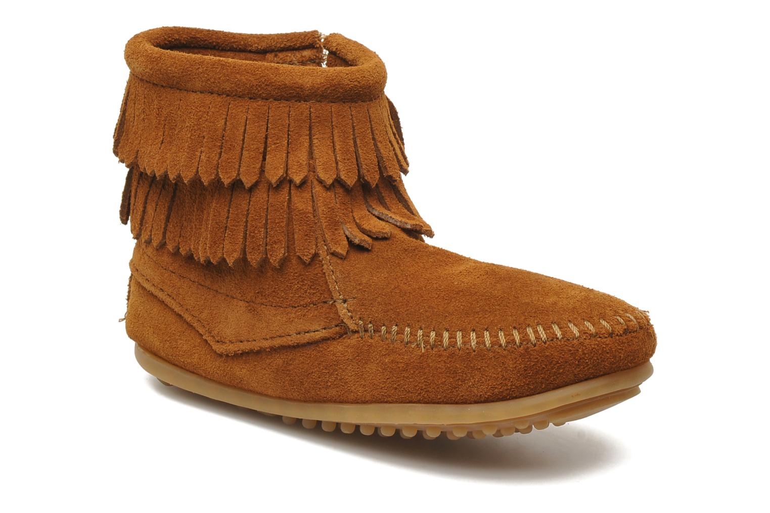 Ankle boots Minnetonka Double Fringe bootie G Brown detailed view/ Pair view