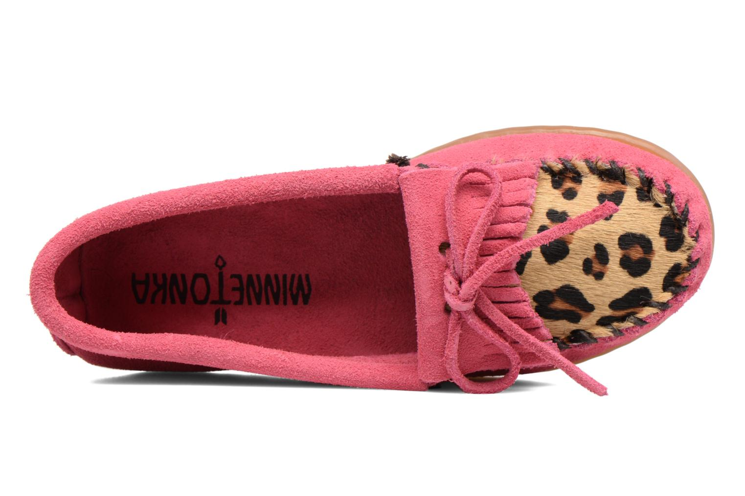 Loafers Minnetonka Leopard Kilty Moc G Pink view from the left