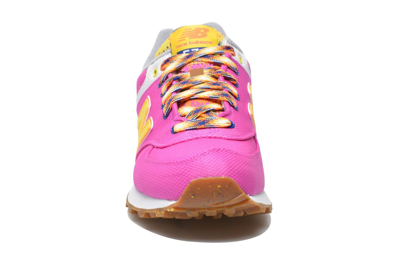 Sneaker New Balance WL574 rosa schuhe getragen