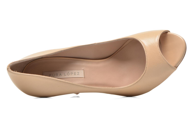 Zapatos de tacón Pura Lopez Gabriella Beige vista lateral izquierda