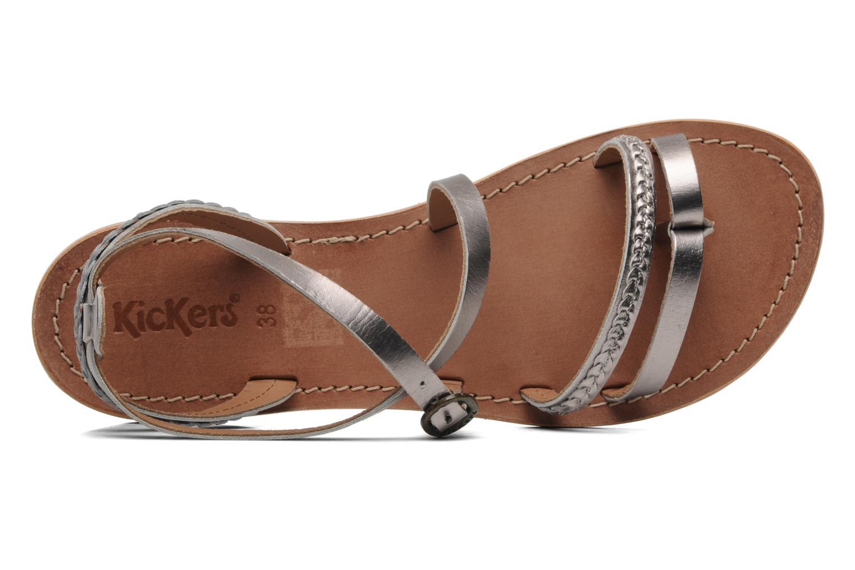 Sandalen Kickers Djapan silber ansicht von links