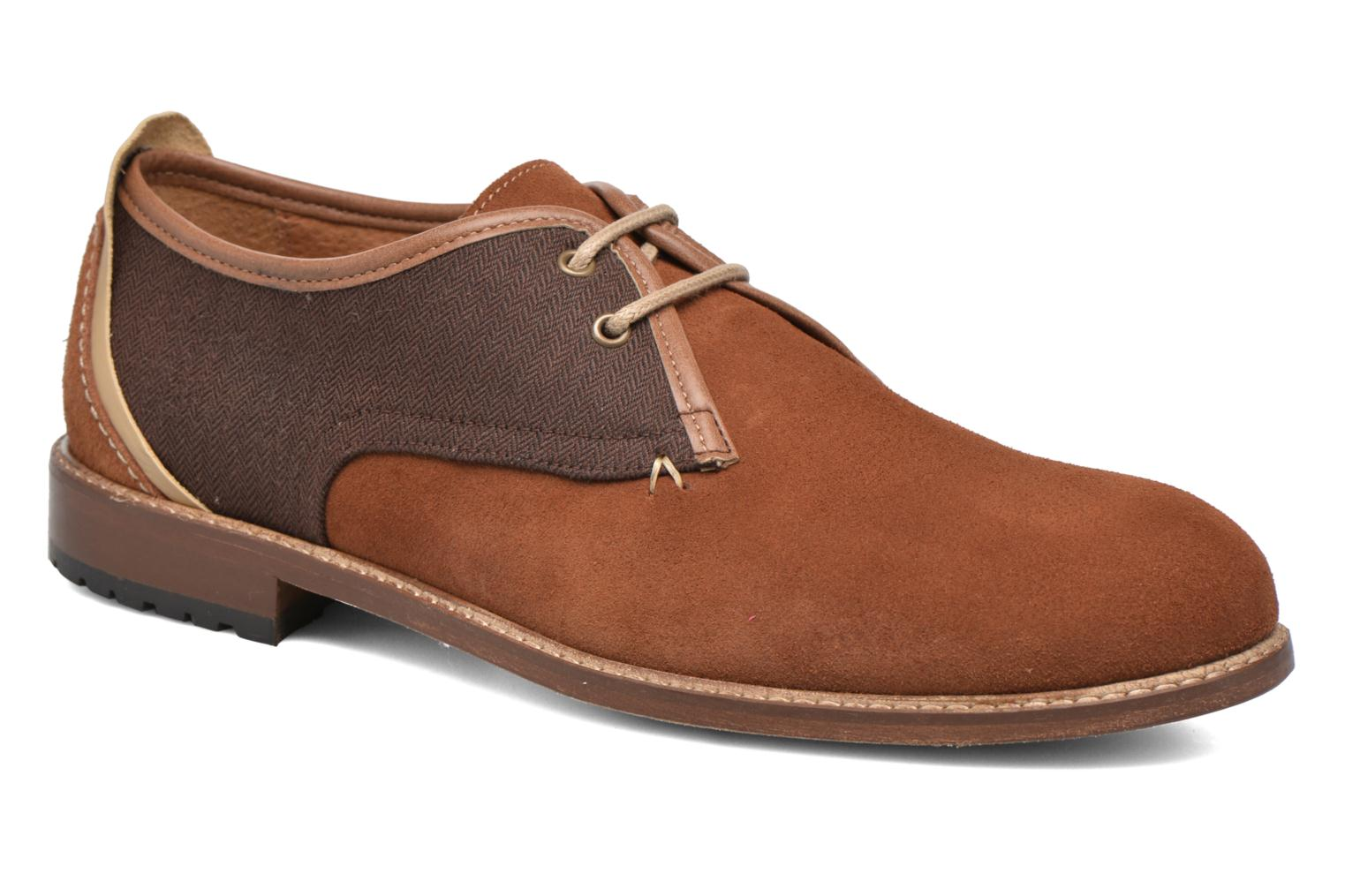 Lace-up shoes M. Moustache Léon Suede Brown detailed view/ Pair view