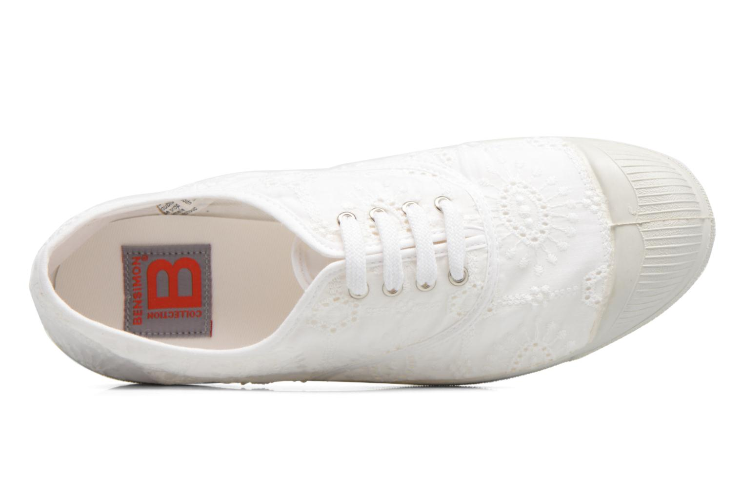 Trainers Bensimon Tennis Broderie Anglaise White view from the left