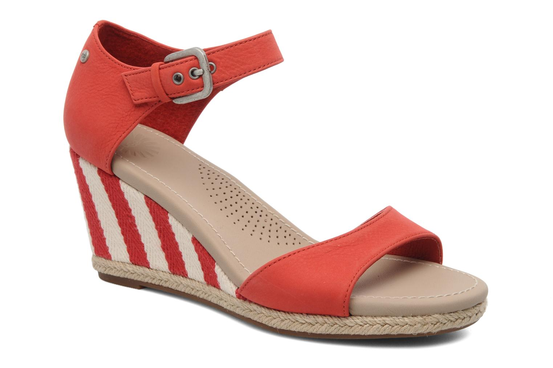 Sandales et nu-pieds UGG Atasha Stripe Rouge vue détail/paire