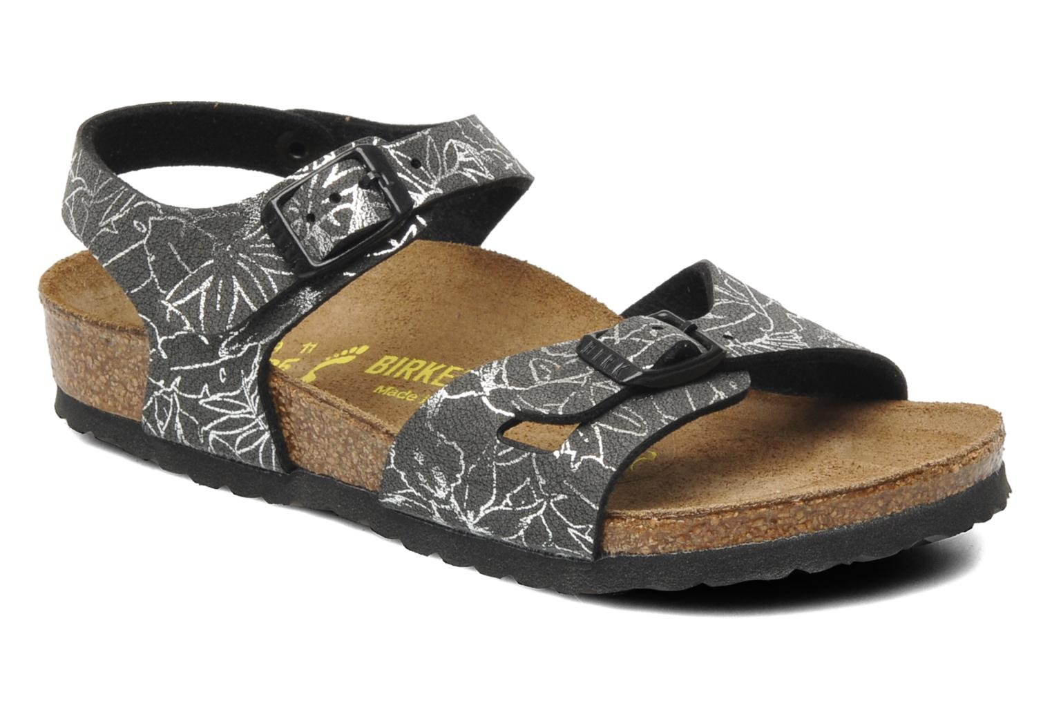 Sandals Birkenstock Rio Birko Flor Black detailed view/ Pair view