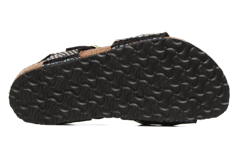 Sandales et nu-pieds Birkenstock Rio Birko Flor Noir vue haut
