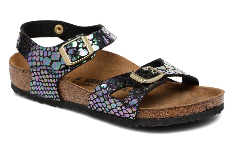 Sandales et nu-pieds Birkenstock Rio Birko Flor Noir vue détail/paire