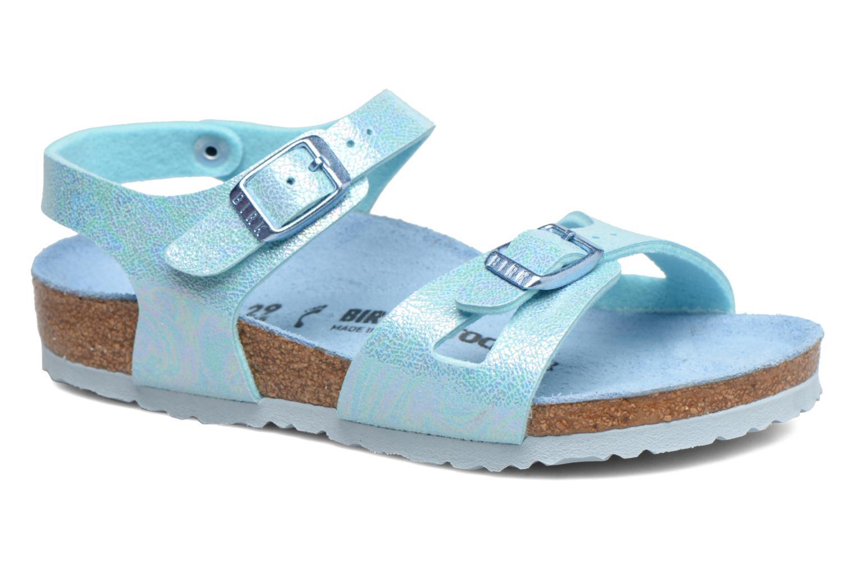 Sandals Birkenstock Rio Birko Flor Blue detailed view/ Pair view