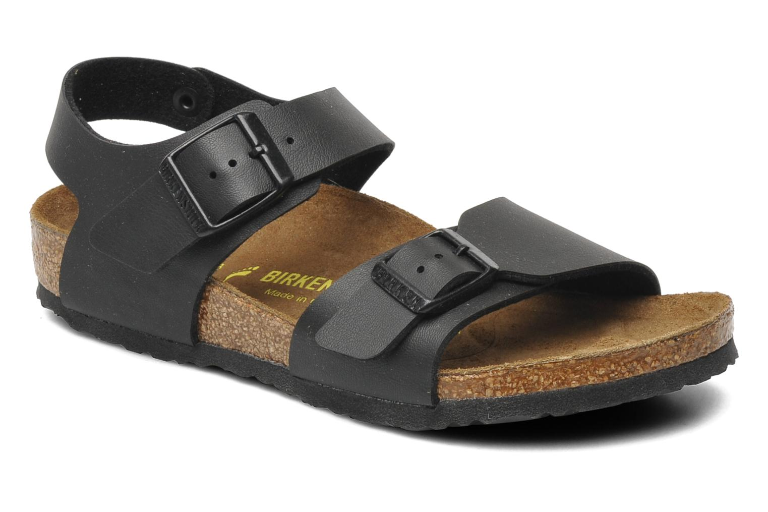 Sandals Birkenstock New York Birko Flor Black detailed view/ Pair view