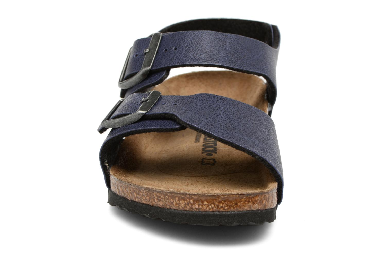 Sandalen Birkenstock New York Birko Flor blau schuhe getragen