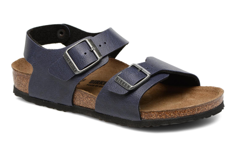 Sandals Birkenstock New York Birko Flor Blue detailed view/ Pair view