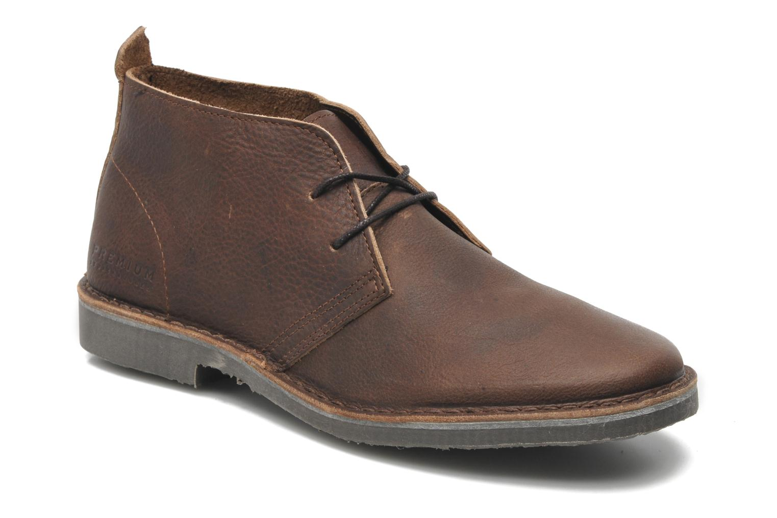 Chaussures à lacets Jack & Jones JJ Gobi Heavy Leather Desert Boot Prm Marron vue détail/paire