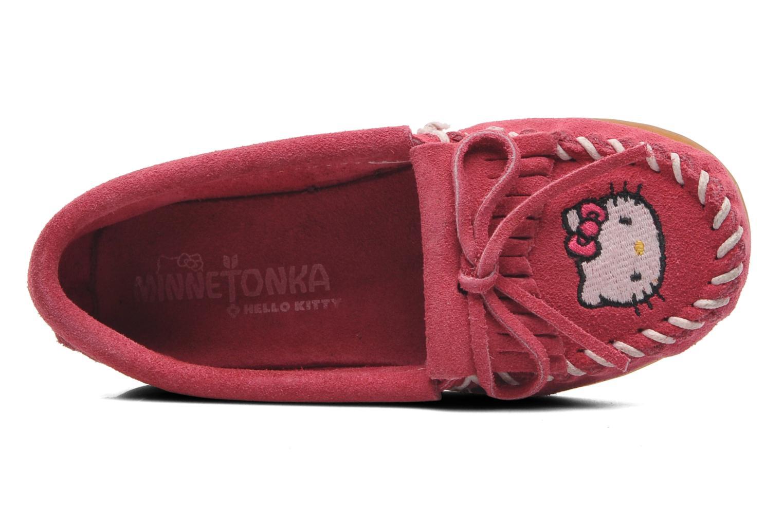 Mocasines Minnetonka Hello Kitty Moc Rosa vista lateral izquierda