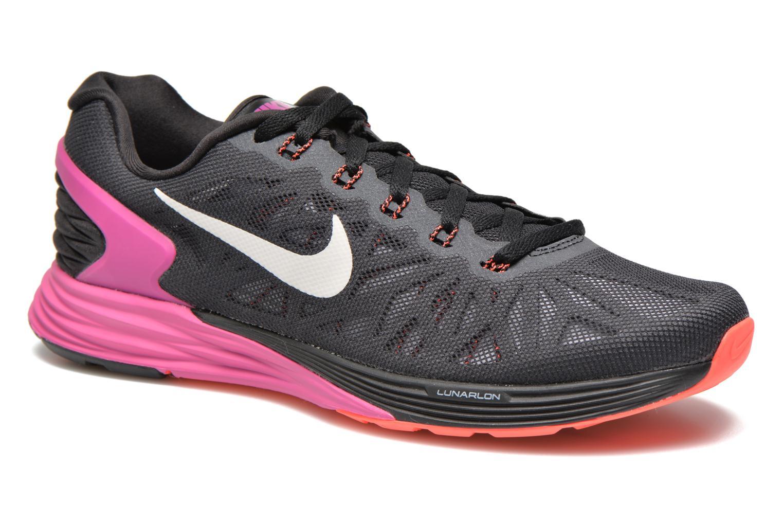 Wmns Nike Lunarglide 6 Black/White-Fchs Flash-Ht Lv