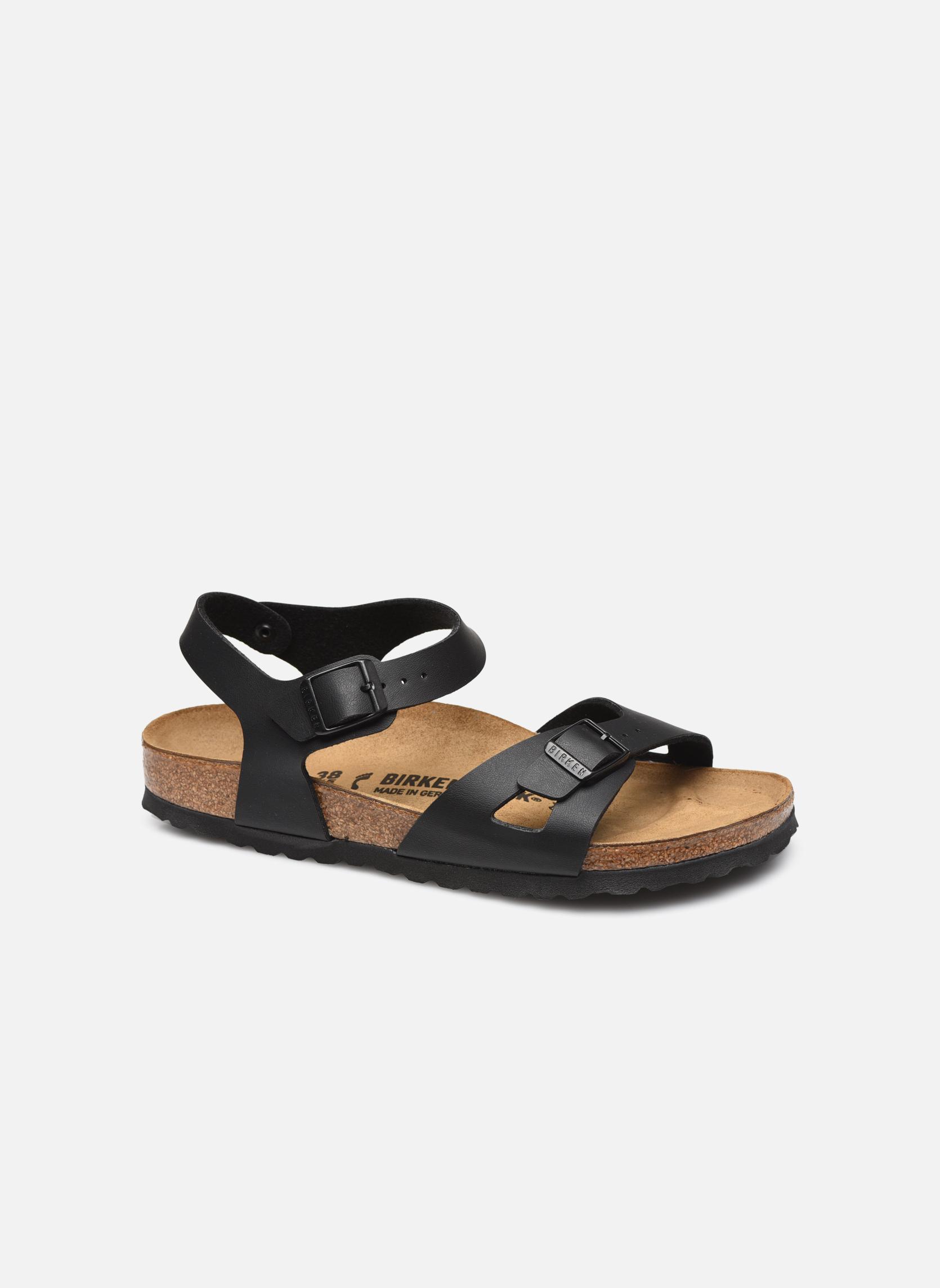 Sandals Birkenstock Rio Flor W Black detailed view/ Pair view