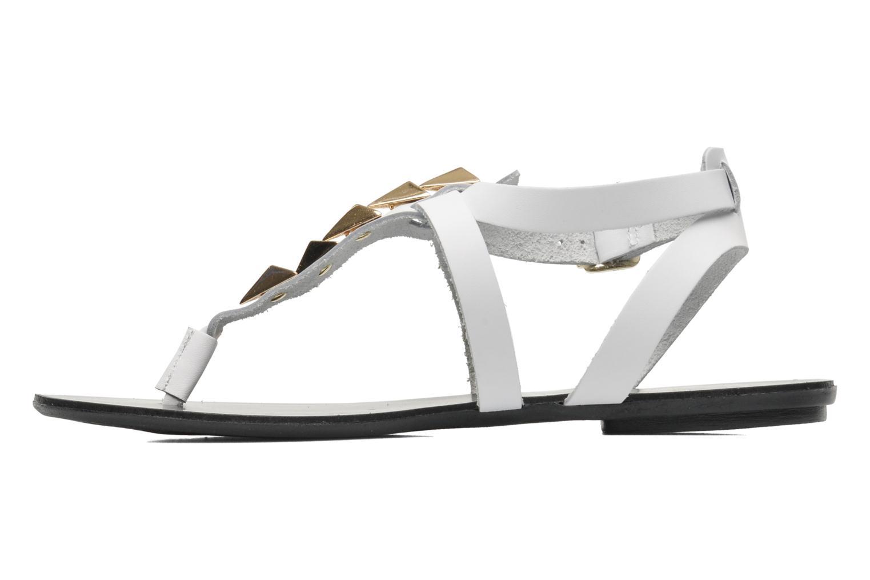 Sandales et nu-pieds Pieces Cathie leather studs Blanc vue face
