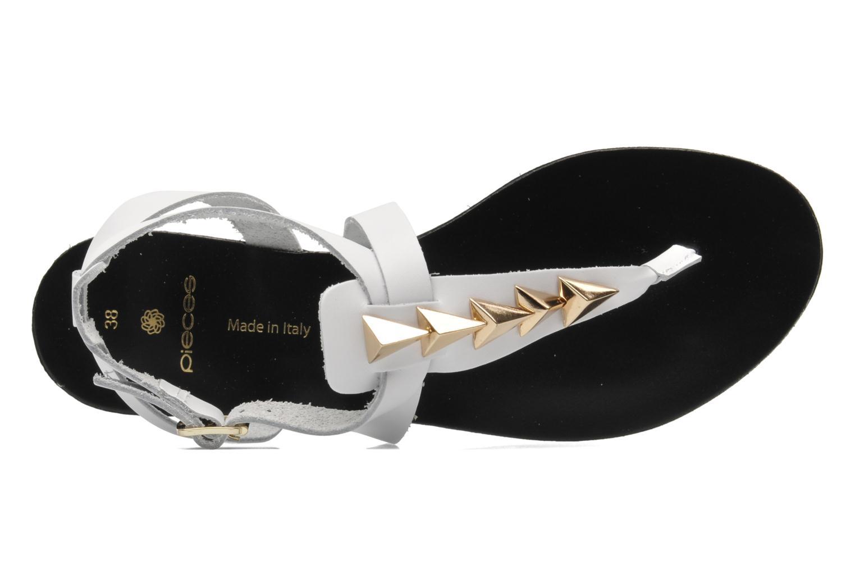 Sandalias Pieces Cathie leather studs Blanco vista lateral izquierda