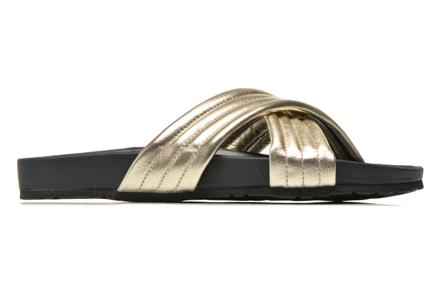 Zuecos Pieces Tahi leather Oro y bronce vistra trasera