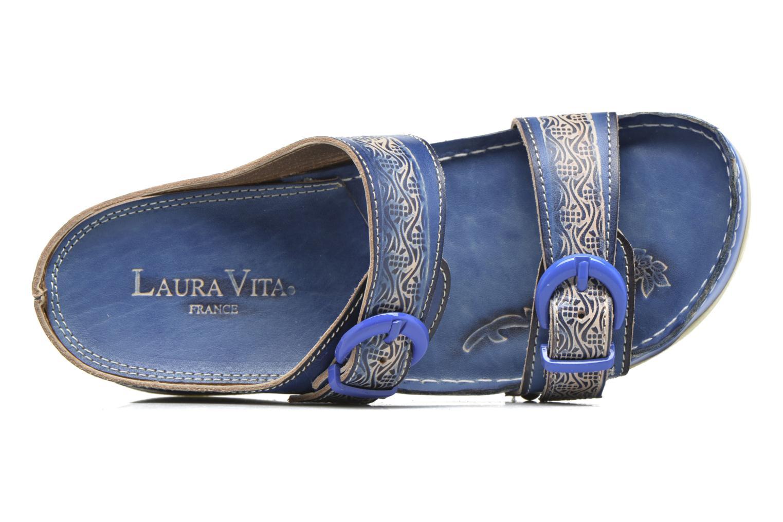 Zuecos Laura Vita Scep Azul vista lateral izquierda