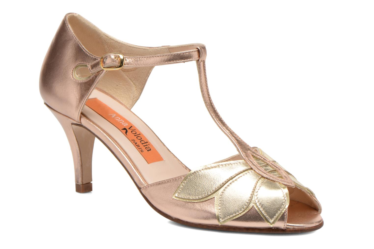 High heels Anna Volodia Mama Bronze and Gold detailed view/ Pair view