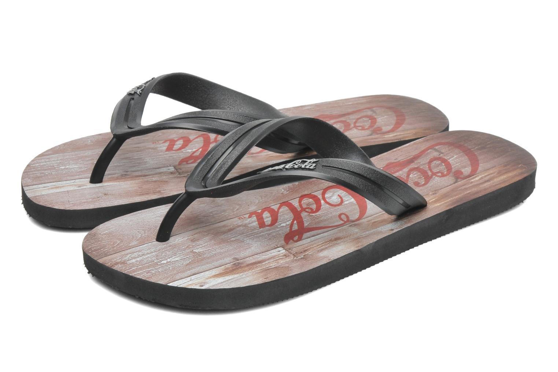 Flip flops Coca-cola shoes Wood Black 3/4 view