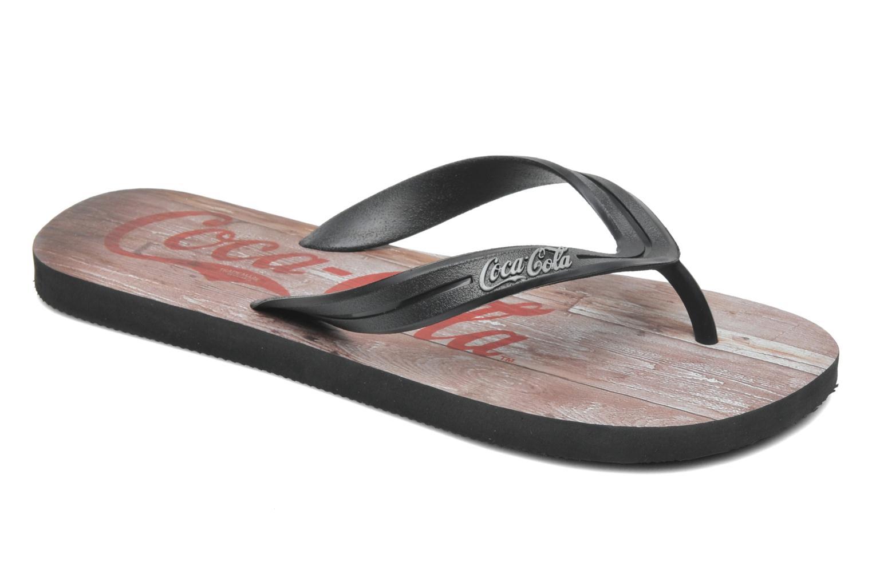 Flip flops Coca-cola shoes Wood Black detailed view/ Pair view