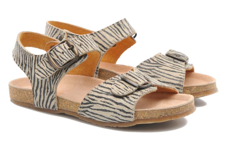 Sandales et nu-pieds PèPè Zebra Beige vue 3/4