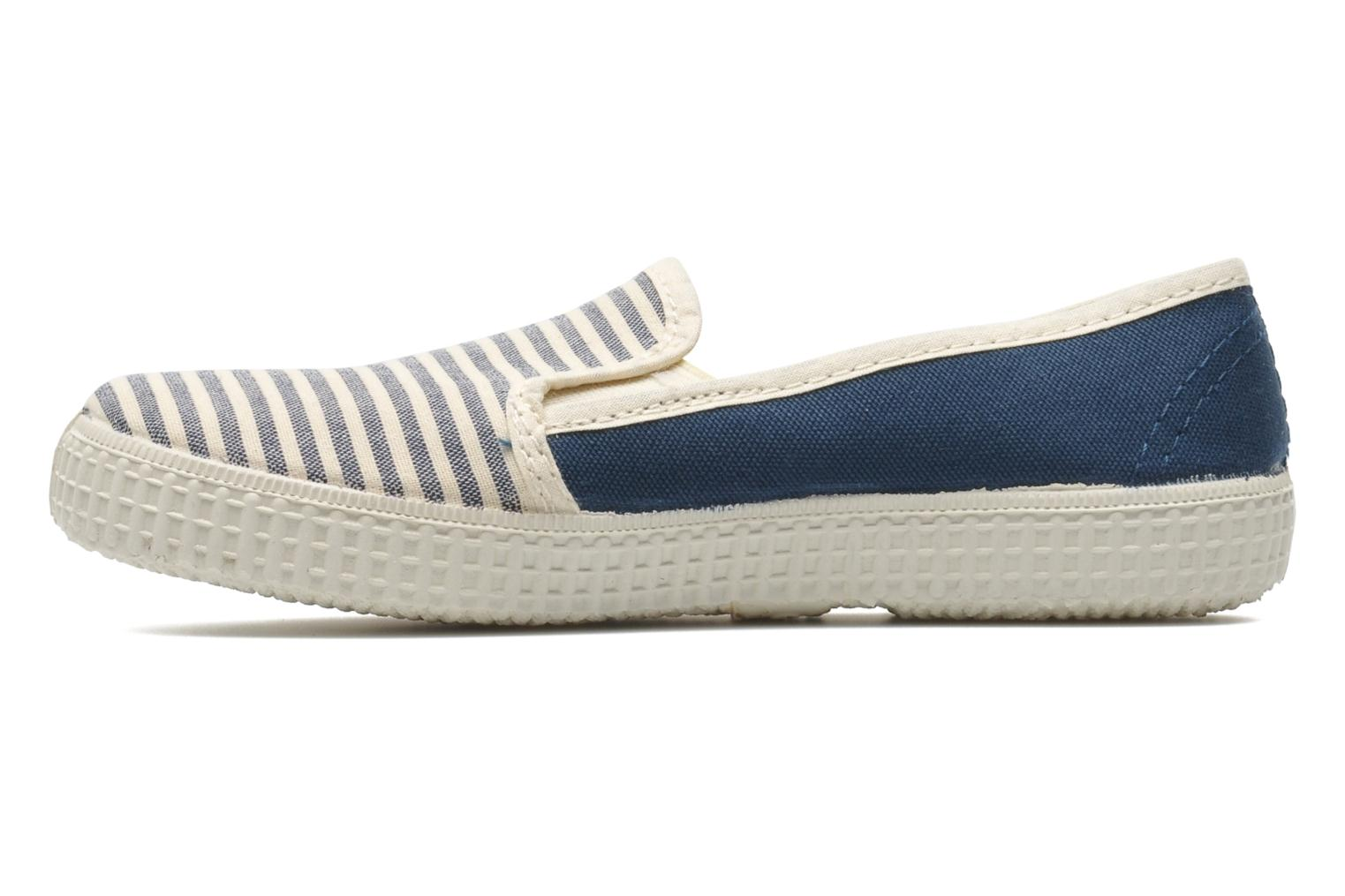Baskets Victoria Slip On Rayas Lona Bleu vue face