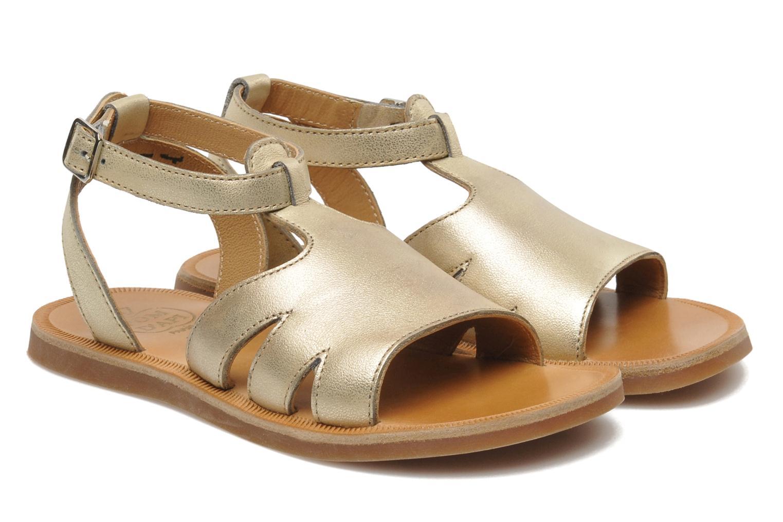 Sandales et nu-pieds Pom d Api PLAGETTE MUSE Or et bronze vue 3/4