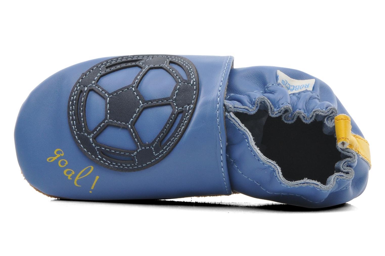 Pantuflas Robeez Soccer Boy Azul vista lateral izquierda