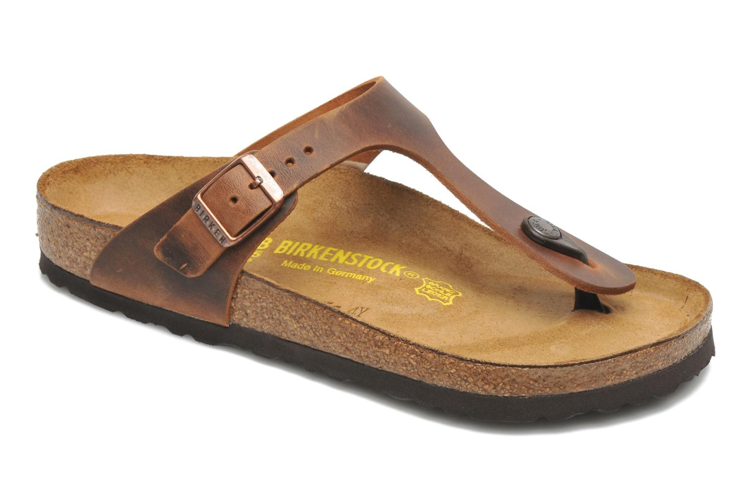 Mules & clogs Birkenstock Gizeh Cuir W Brown detailed view/ Pair view