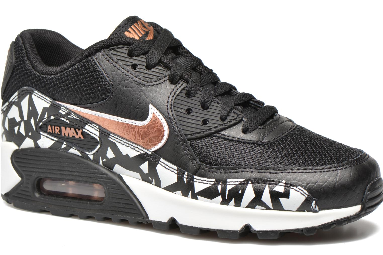 Trainers Nike AIR MAX 90 FB (GS) Black detailed view/ Pair view