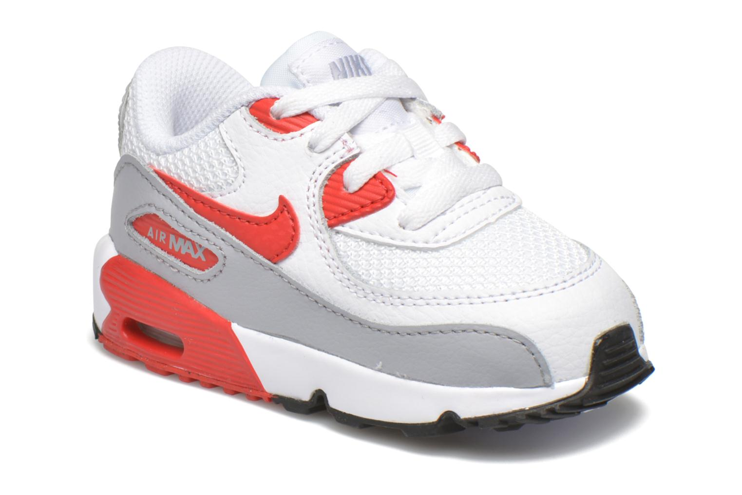 NIKE AIR MAX 90 MESH (TD) White Unvrsty Red-Wlf Gry-Blk