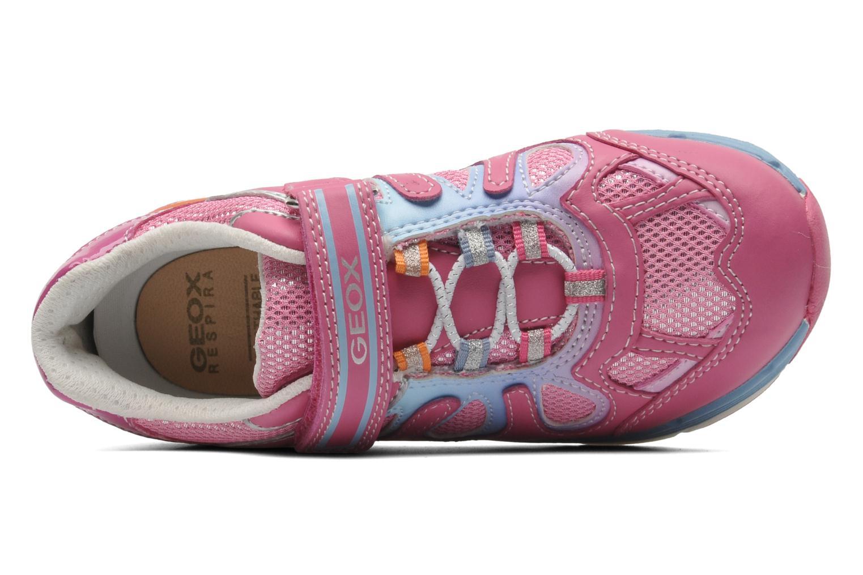 Sneaker Geox J TOP FLY G. B - GBK+MESH BRIL rosa ansicht von links