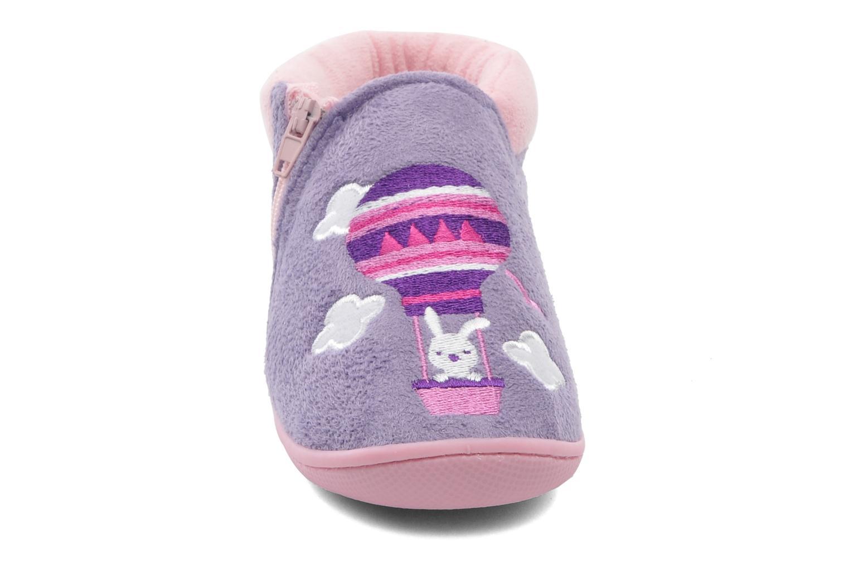 Chaussons Isotoner Bottillon zip suédine Violet vue portées chaussures