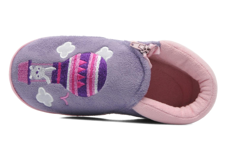 Chaussons Isotoner Bottillon zip suédine Violet vue gauche