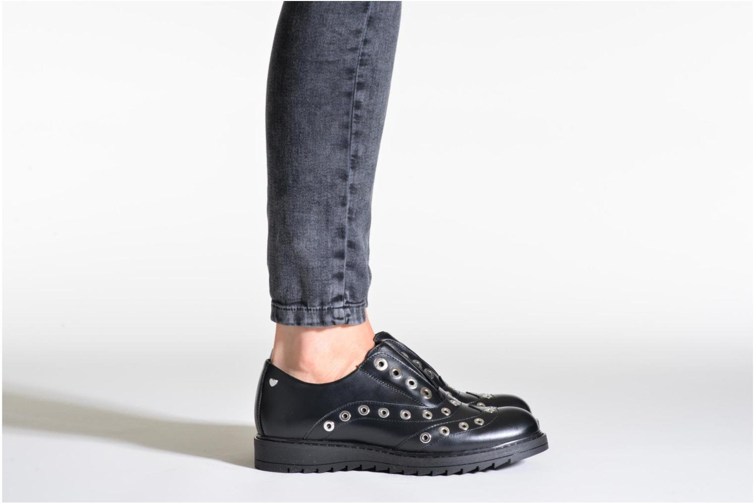Lace-up shoes Love Moschino Love Dandy Black view from underneath / model view