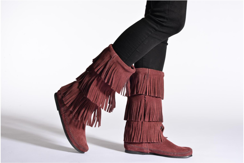 Bottines et boots Minnetonka 3 Layer Fringe Bt Bordeaux vue bas / vue portée sac